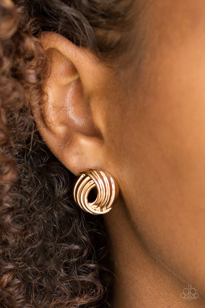 Paparazzi Rare Refinement - Gold - Post Earrings - Glitzygals5dollarbling Paparazzi Boutique