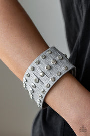 Paparazzi Now Taking The Stage - Silver - White Rhinestones - Wrap / Snap Bracelet - Glitzygals5dollarbling Paparazzi Boutique