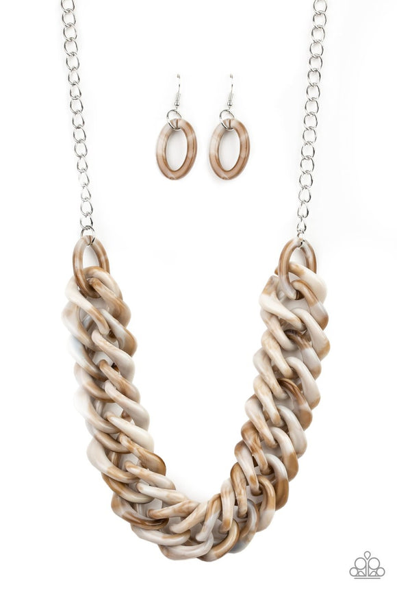 Paparazzi Comin In HAUTE - Brown - Faux Marble Acrylic - Necklace and matching Earrings