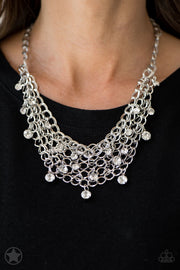 Fishing for Compliments - Silver Blockbuster Necklace - Glitzygals5dollarbling Paparazzi Boutique
