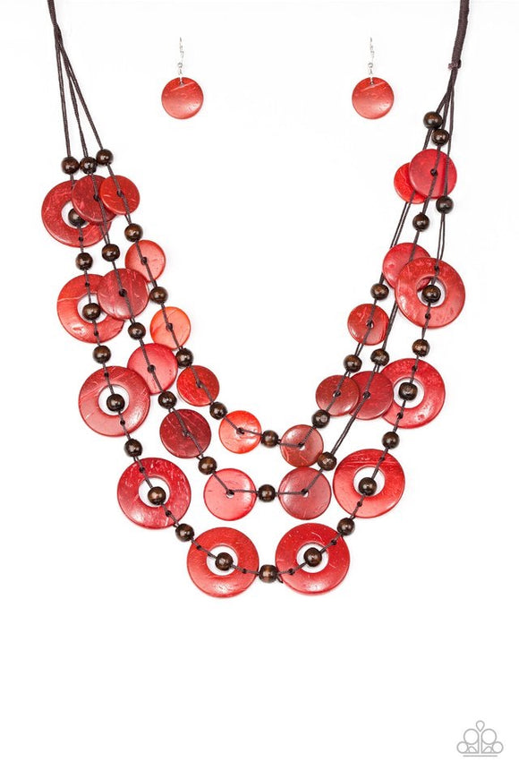Paparazzi Catalina Coastin - Red Wooden Necklace