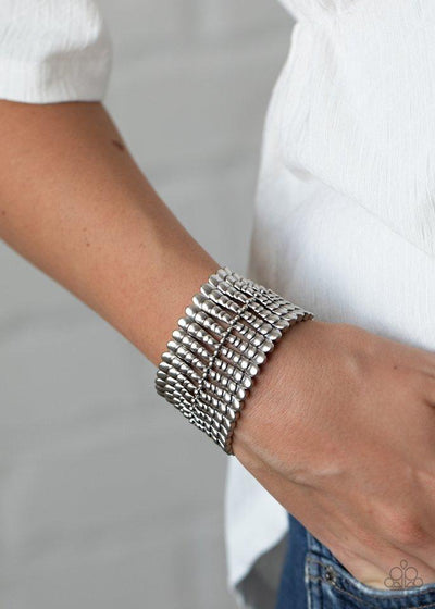 Paparazzi Bracelet ~ Level The Field - Silver - Glitzygals5dollarbling Paparazzi Boutique