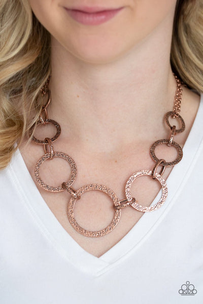 Paparazzi City Circus - Copper - Hammered Antiqued Shimmer - Necklace & Earrings