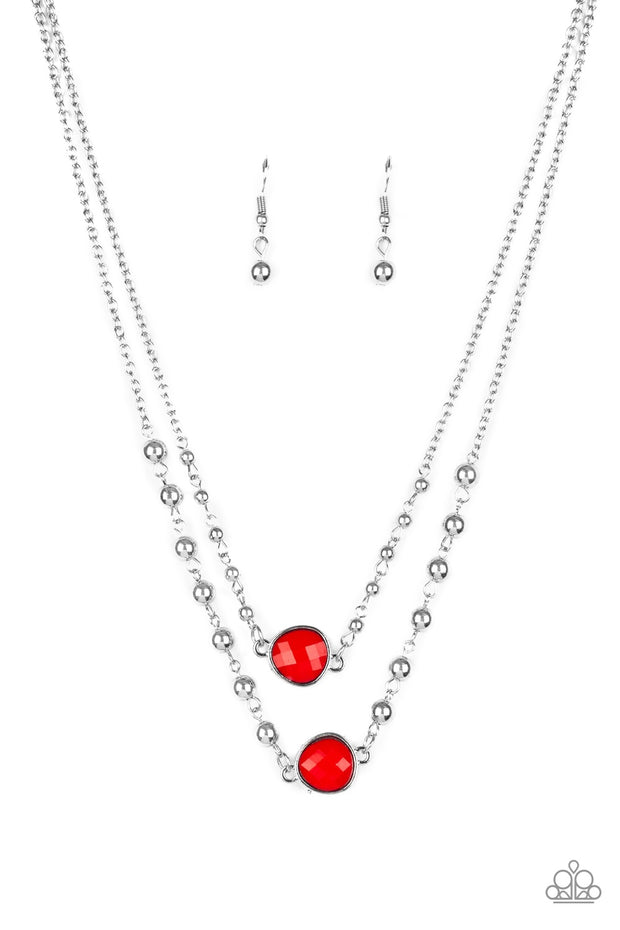 Paparazzi Colorfully Charming Red Necklace - Glitzygals5dollarbling Paparazzi Boutique