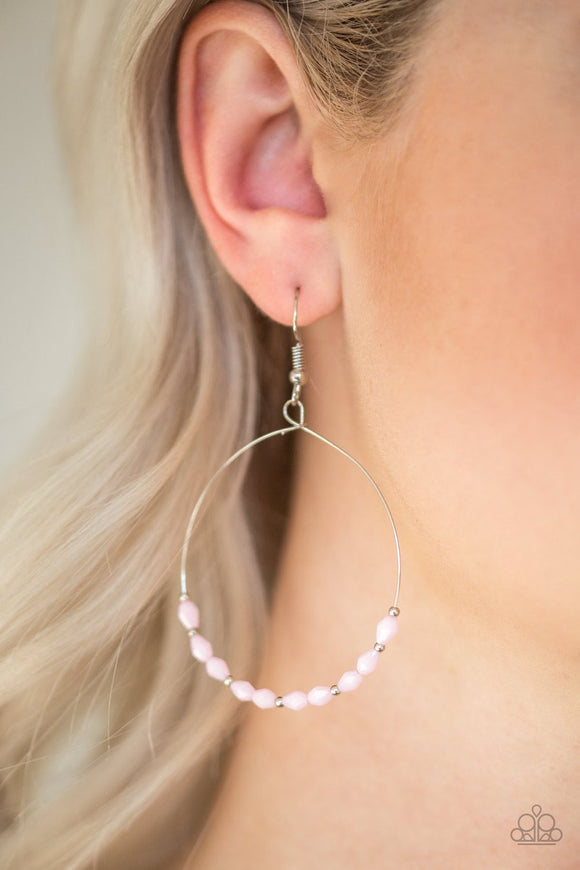 Paparazzi Prize Winning Sparkle - Pink Beads - Silver Hoop Earrings