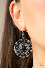 Paparazzi Desert Palette - Black Stone - Silver Frame Earrings - Glitzygals5dollarbling Paparazzi Boutique