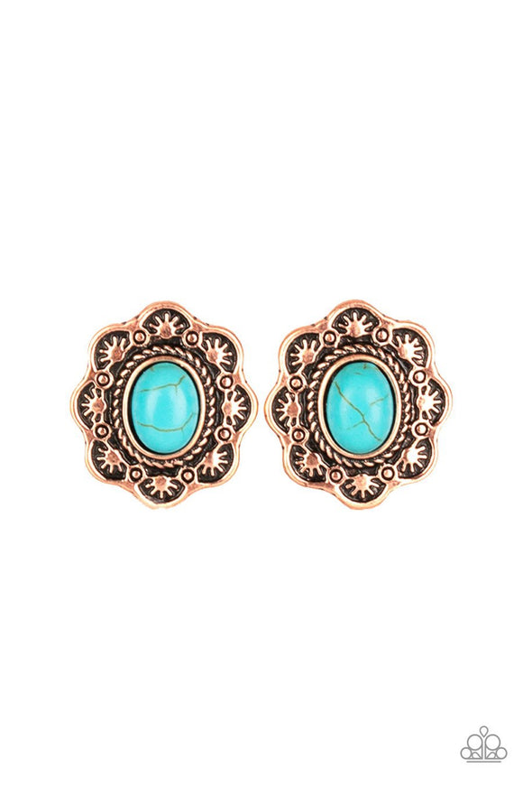 Paparazzi Springtime Deserts - Copper - Blue Turquoise Stone - Post Earrings