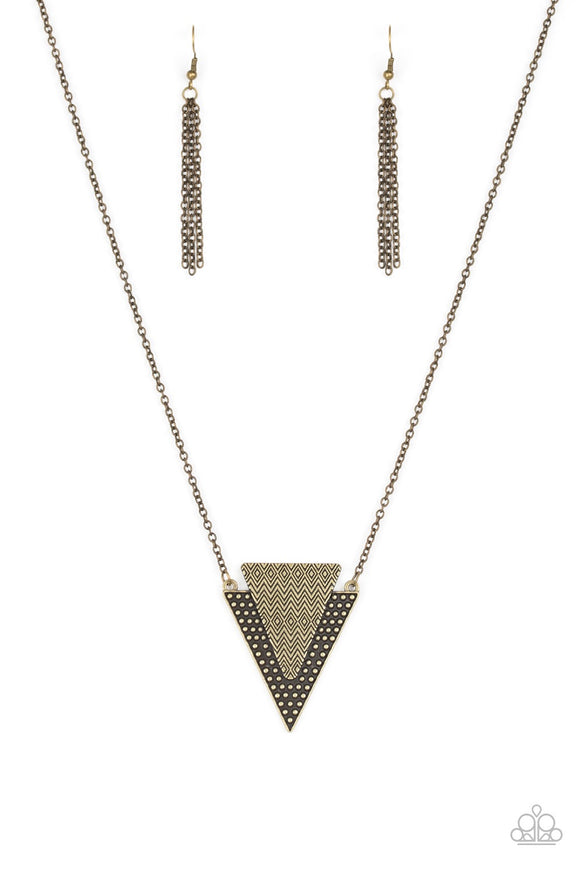 Paparazzi Ancient Arrow - Brass - Studded Indigenous Textures - Necklace and matching Earrings