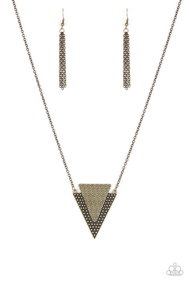 Paparazzi Ancient Arrow - Brass - Studded Indigenous Textures - Necklace and matching Earrings - Glitzygals5dollarbling Paparazzi Boutique