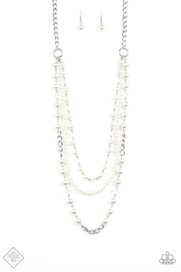 Paparazzi New York City Chic White Necklace Fashion Fix Exclusive