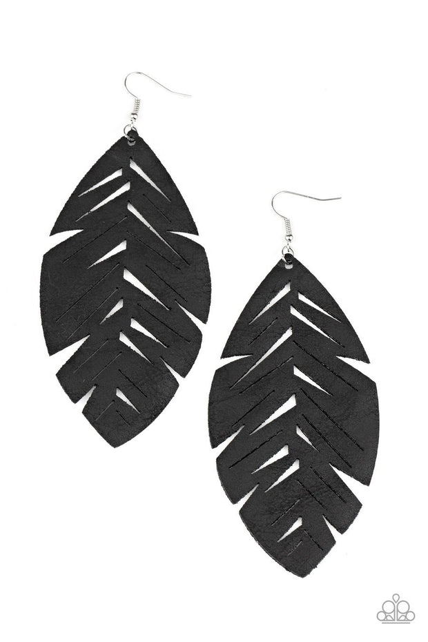 Paparazzi I Want To Fly - Black Leather - Earrings
