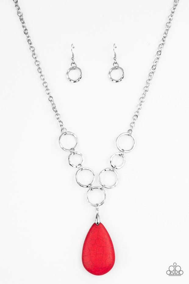 Paparazzi Livin On A PRAIRIE - Red Necklace Silver - Glitzygals5dollarbling Paparazzi Boutique