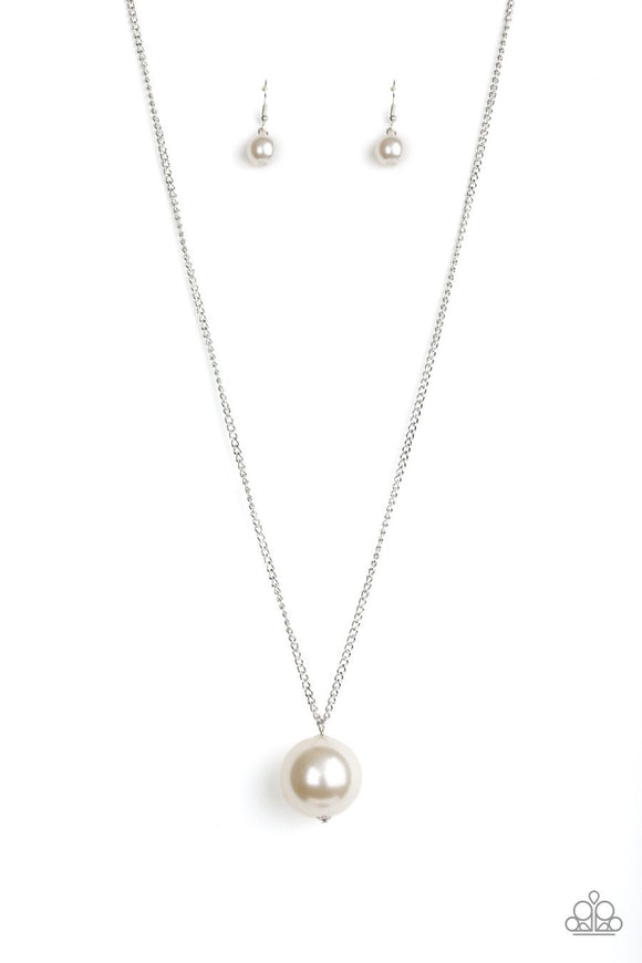 Paparazzi The Grand Baller - White Pearl Pendant - Silver Chain Necklace and matching Earrings