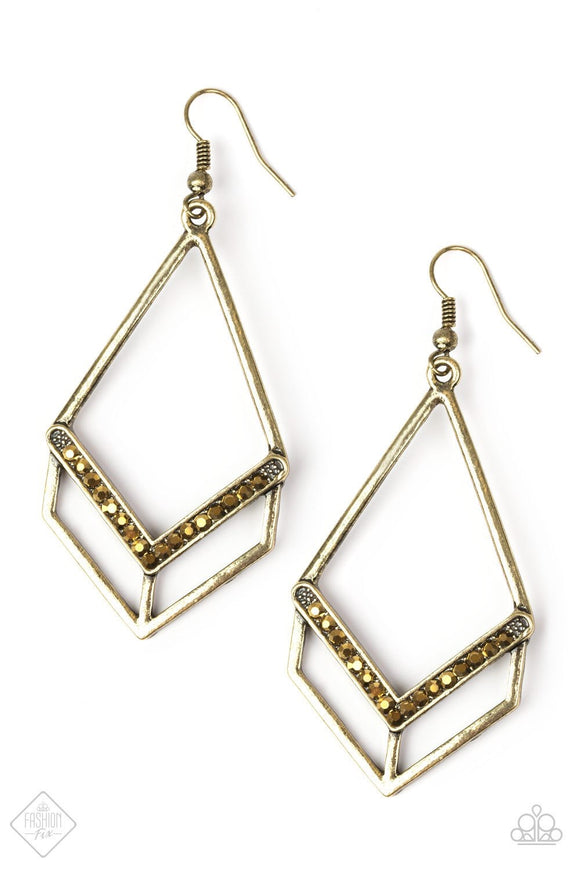 Paparazzi Absolute Alpha Brass Earrings Fashion Fix Exclusive