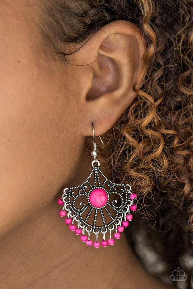 Paparazzi Stone Lagoon - Pink - Silver Frame Wanderlust - Earrings - Glitzygals5dollarbling Paparazzi Boutique