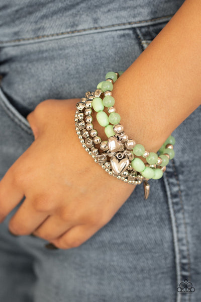 Paparazzi No Charm Done Green Bracelet - Glitzygals5dollarbling Paparazzi Boutique