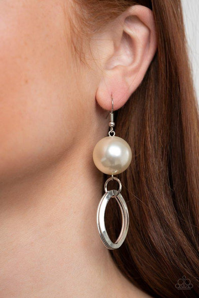 Paparazzi Earring ~ Big Spender Shimmer - White - Glitzygals5dollarbling Paparazzi Boutique