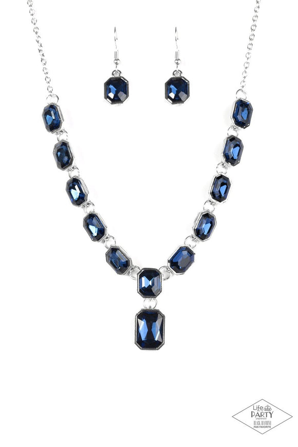 Paparazzi The Right To Remain Sparkly - Blue Gems - Silver Necklace and matching Earrings