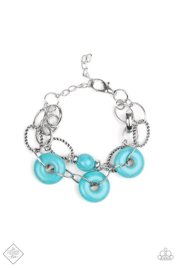 Paparazzi Absolutely Artisan - Blue Turquoise Stone - Silver Accents - Bracelet - Fashion Fix September 2019
