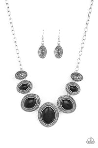 Paparazzi Sierra Serenity - Black Stones - Silver Necklace and matching Earrings