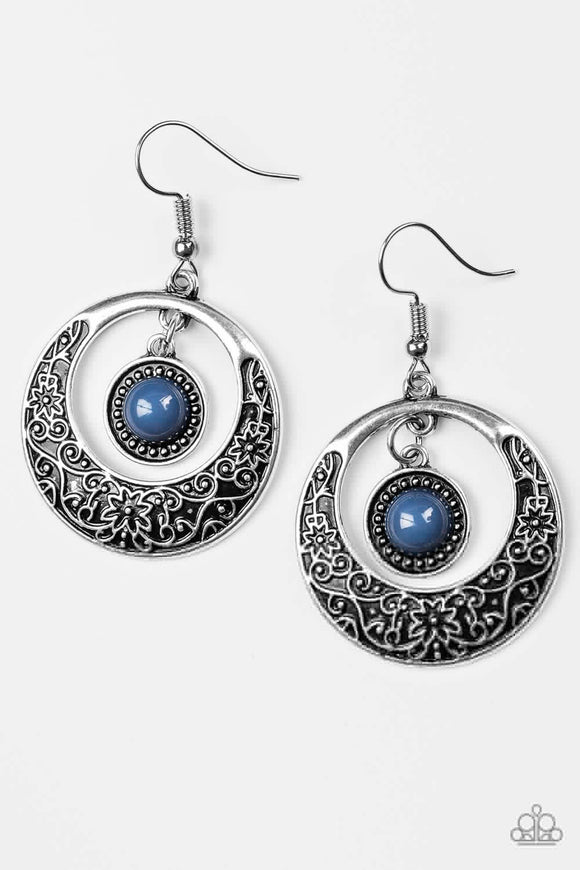 Paparazzi Wandering Waikiki Blue Silver Earrings