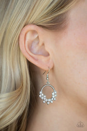 Paparazzi Refined Razzle - White - Pearls and Rhinestones - Silver Hoop Earrings - Glitzygals5dollarbling Paparazzi Boutique