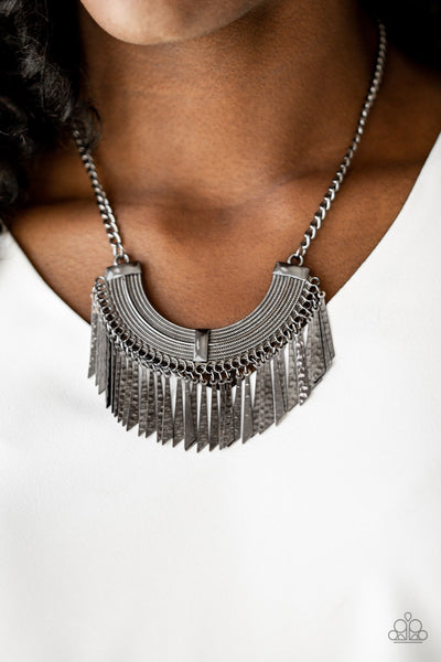 Paparazzi Impressively Incan - Black Gunmetal Necklace - Glitzygals5dollarbling Paparazzi Boutique