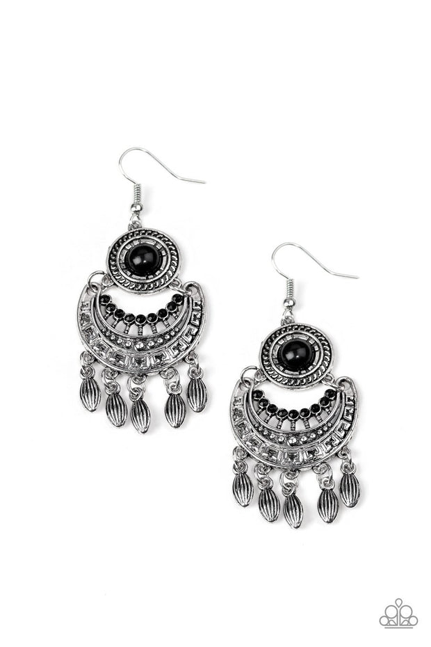 Paparazzi Mantra to Mantra - Black Beaded Center - Silver Crescent - Fringe Earrings