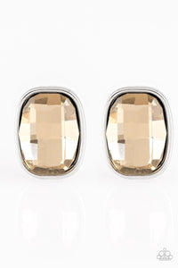 Paparazzi Incredibly Iconic - Brown Frosted Gem - Silver Post Earrings