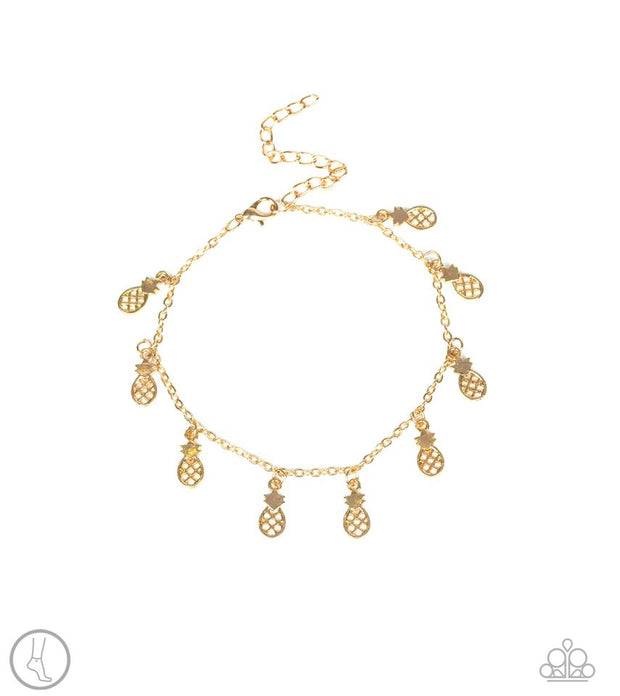 Paparazzi Sand and Sunshine Gold Pineapple Anklet - Glitzygals5dollarbling Paparazzi Boutique