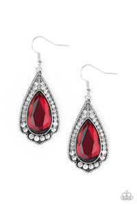 Paparazzi Superstar Stardom - Red Fiery Gem - White Rhinestones - Teardrop Earrings