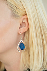 Paparazzi Seasonal Simplicity - Blue - Oval Stone - Silver Teardrop Earrings