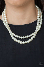Paparazzi Woman Of The Century - White Pearls - Two Strands - Necklace & Earrings