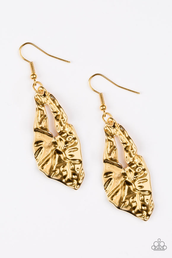 "Paparazzi ""Cave Cavalier"" Gold Earrings"