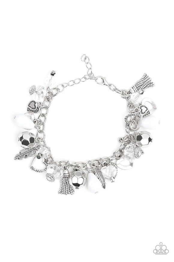 Paparazzi Charmingly Romantic - White Teardrop - Silver Charms - Hearts, Leaf, Feathers - Bracelet