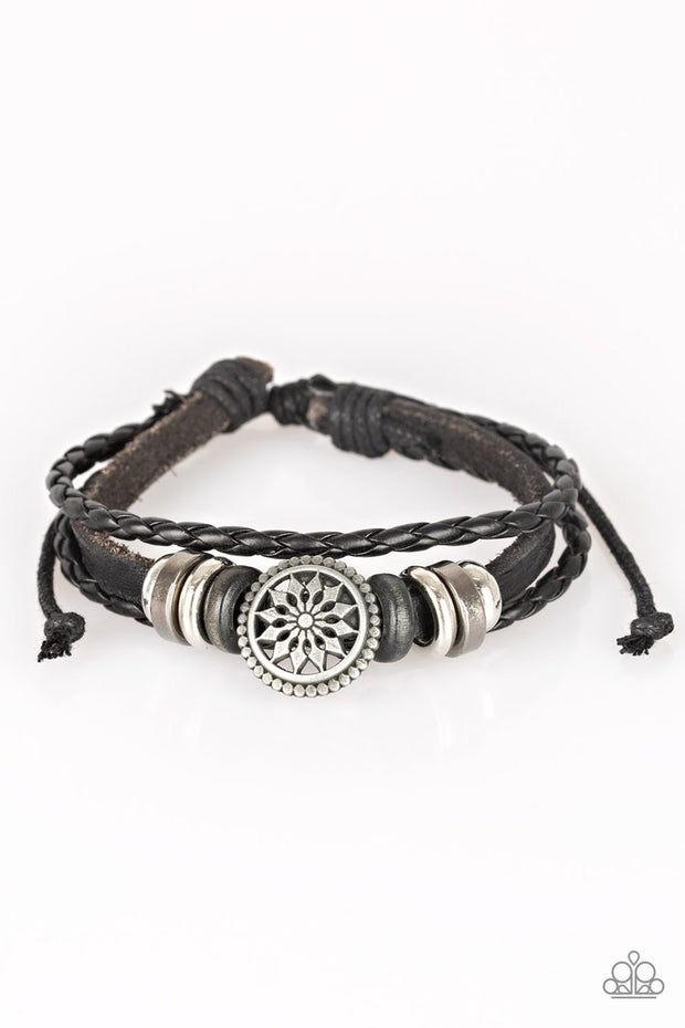 Paparazzi Totally Tundra - Black Leather - Wooden and Metallic Accents - Sliding Knot Bracelet - Glitzygals5dollarbling Paparazzi Boutique