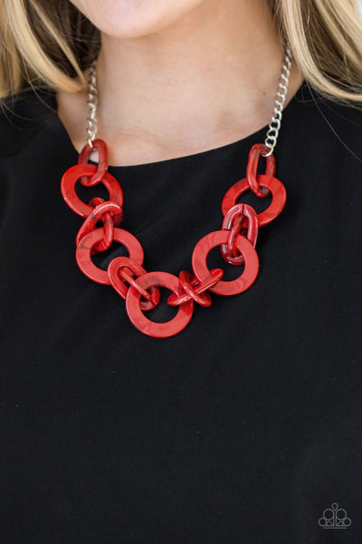 "Paparazzi ""Chromatic Charm"" Red Acrylic Necklace - Glitzygals5dollarbling Paparazzi Boutique"