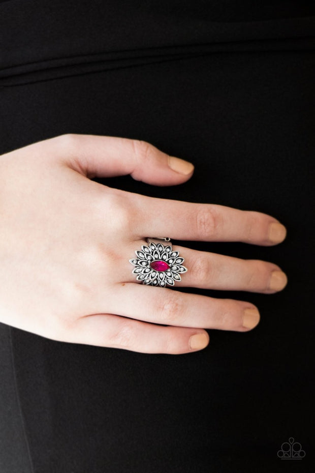 Paparazzi Blooming Fireworks - Pink Marquise Rhinestone - Silver Ring