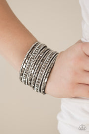 Paparazzi Wham Bam Glam Hematite White Bracelet On Black - Glitzygals5dollarbling Paparazzi Boutique