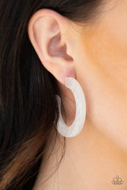 Paparazzi Oceanside Oasis - White - Acrylic Hoop Earrings - Glitzygals5dollarbling Paparazzi Boutique