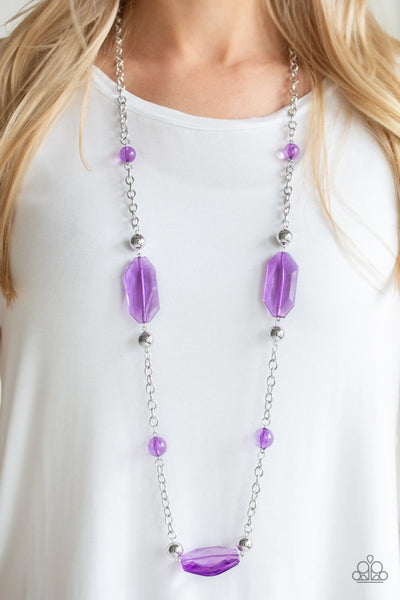Paparazzi Crystal Charm - Purple Beads - Silver Chain Necklace and matching Earrings - Glitzygals5dollarbling Paparazzi Boutique