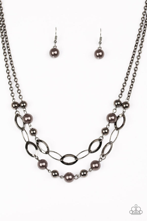 Paparazzi GLIMMER Takes All - Black - Gunmetal Hoops - Necklace and matching Earrings