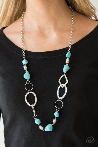 PAPARAZZI NECKLACE THATS TERRA-IFIC! - BLUE Turquoise Silver - Glitzygals5dollarbling Paparazzi Boutique