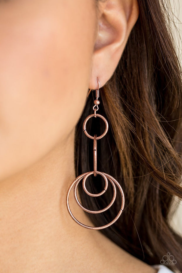 Paparazzi Chic Circles - Copper - Earrings