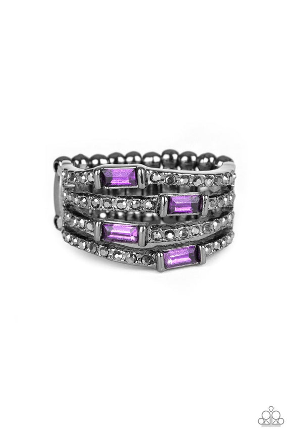 Paparazzi Royal Reflections - Purple Rhinestones - Wavy Gunmetal Bands - Hematite Rhinestones - Ring