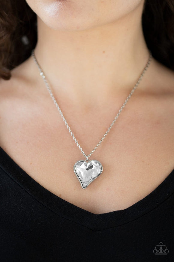 Paparazzi Heart Flutter - White - Rhinestone Gem - Silver Necklace and matching Earrings