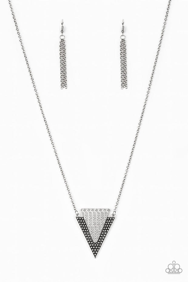 Paparazzi Ancient Arrow - Silver - Triangular Pendant - Necklace & Earrings