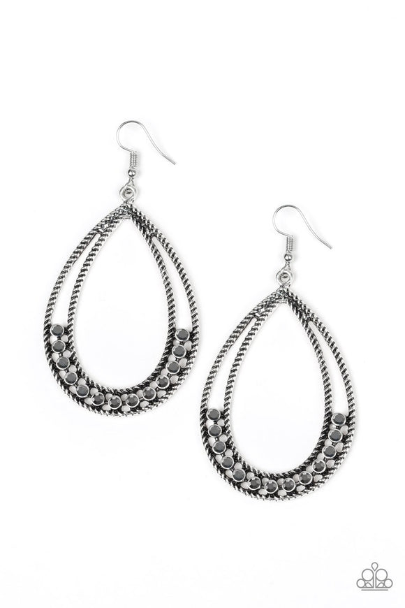 Paparazzi Glitz Fit - Silver - Hematite Rhinestones - Silver Teardrop Earrings