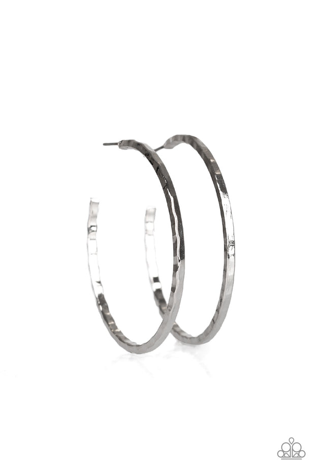 Totally Throwback Silver Hoop Paparazzi Earrings - Glitzygals5dollarbling Paparazzi Boutique