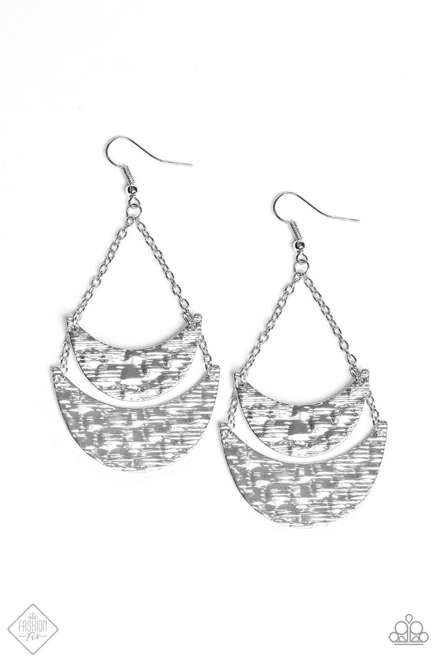 Paparazzi Moon Landings - Silver - Hammered Earrings - Fashion Fix / Trend Blend Exclusive August 2019 - Glitzygals5dollarbling Paparazzi Boutique